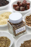 Homemade dukkah in a jar, egyptian condiment Royalty Free Stock Photos