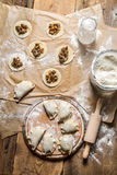 Homemade dumplings with mushrooms in the countryside Royalty Free Stock Photography