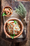 Homemade dumplings with mushrroms and onion Royalty Free Stock Photo
