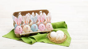 Homemade Easter bunnies and eggs Royalty Free Stock Photo
