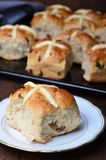 Easter Hot Cross Buns on dark background royalty free stock image