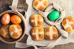 Homemade Easter hot cross buns and eggs, top view Stock Image
