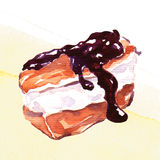 Homemade eclair with cream. Watercolor painting on white background Royalty Free Stock Photos