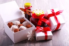 Homemade edible Christmas gifts. On wooden table Stock Images