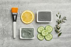 Homemade effective acne remedies. And ingredients on grey background, flat lay royalty free stock photo