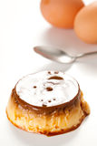 Homemade egg flan with caramel Stock Photos