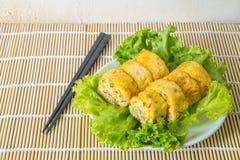 Homemade egg rolls, vegetarian food Stock Photos