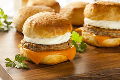 Homemade Egg Sandwich with Sausage and Cheese Royalty Free Stock Photo