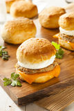 Homemade Egg Sandwich with Sausage and Cheese Stock Images