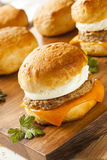 Homemade Egg Sandwich with Sausage and Cheese Royalty Free Stock Photos