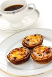 Homemade egg tart and coffee Stock Image