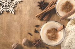 Homemade Eggnog Cocktail for Christmas Eve. Royalty Free Stock Photography