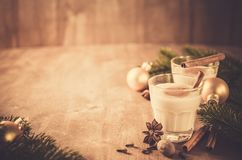 Homemade Eggnog Cocktail for Christmas Eve. Stock Images