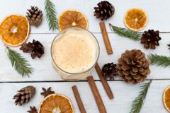 Free Homemade Eggnog With Cinnamon On Wooden Table. Christmas Drinks Royalty Free Stock Photo - 102789895