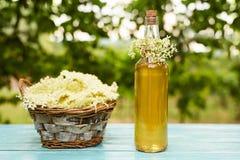 Homemade elderflower syrup in a bottle Stock Photo
