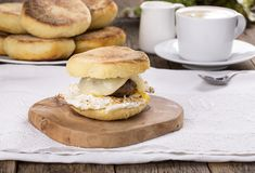 Homemade English Muffin Breakfast Sandwich royalty free stock images