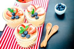 Homemade, exquisite dessert tiramisu in glasses decorated with strawberry, blueberry, mint on black wooden table. Tiramisu, traditional Italian dessert in glass royalty free stock photography