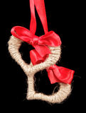 Homemade fabric hearts hanging on red ribbon Stock Images