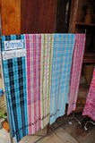 Homemade fabric Thailand. Colorful homemade fabric in Thailand Stock Images