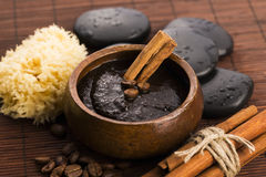 Homemade face and body organic all natural coffee scrub. (peeling) with cinnamon, close up Stock Image