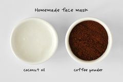 Homemade face mask made out of coconut oil and coffee powder. White background stock images