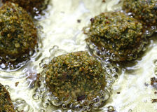 Homemade falafel frying Royalty Free Stock Photography