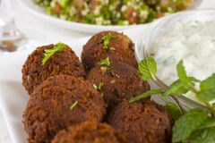 Falafel with Tzatziki and Tabbouleh Stock Images