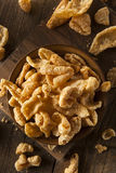 Homemade Fatty Pork Rinds. To Snack on Royalty Free Stock Photo