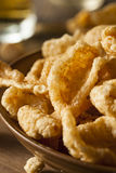 Homemade Fatty Pork Rinds. To Snack on Stock Images