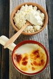 Homemade fermented baked milk and cottage cheese. Stock Photography