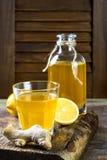Homemade fermented raw ginger lemon kombucha tea. Healthy natural probiotic flavored drink. Copy space. Homemade fermented raw ginger lemon kombucha tea Stock Photography