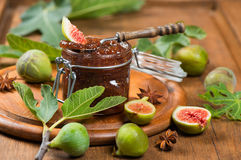 Homemade fig jam with fresh figs Royalty Free Stock Photography