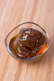 Homemade fig jam in a glass bowl Royalty Free Stock Photo