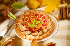 Homemade fig pie with nuts and honey Royalty Free Stock Images