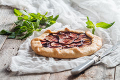 Homemade figs galette Stock Photos