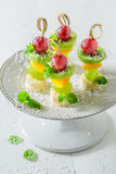 Homemade finger food with various fruits and mint for party Stock Photo