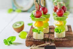 Homemade finger food with various fruits and mint for snack Stock Image