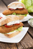 Homemade Fishburger Stock Photography