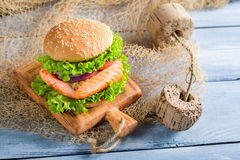 Homemade fishburger with salmon Royalty Free Stock Image