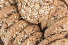 Homemade fitness cookies for proper nutrition with cereals and sunflower seeds Royalty Free Stock Images