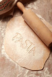 Homemade Flat Fresh Pasta Dough on Table Royalty Free Stock Image