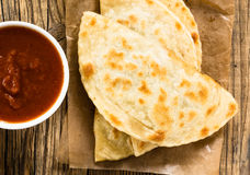 Homemade flatbread with salsa viewed from abov Royalty Free Stock Photography