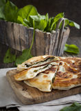 Homemade Flatbread with sorrel Stock Photography