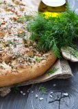 Homemade focaccia with dill, garlic and olive oil Stock Image