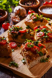 Homemade focaccia with tomatoes, sun-dried tomatoes, mozzarella Stock Photo
