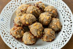 Homemade food, meat balls with cheese. Stock Images