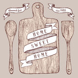 Homemade food poster with cutting board Royalty Free Stock Photography