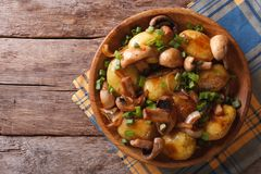 Homemade Food: Potatoes with mushrooms. top view Royalty Free Stock Photo