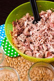 Homemade foreshank meat food in jars. Royalty Free Stock Photos