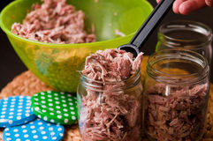 Homemade foreshank meat food in jars. Stock Photo